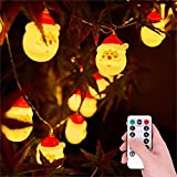 Christmas String Lights - 20 LEDs Santa 8 Modes Fairy Lights with 13 Key Remote Control Timer, 16.4ft/3m Waterproof Battery Operated Twinkle Decorative Lights for Outdoor/Indoor/Tree/Bar Decoration