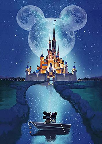 TINDAY Paint by Number Castle DIY Paint by Numbers Kit for Kids Adults Beginner Disney DIY Canvas Paint by Numbers Disney Painting Acrylic Painting for Home Decoration Mickey Minnie 16x20 Inch