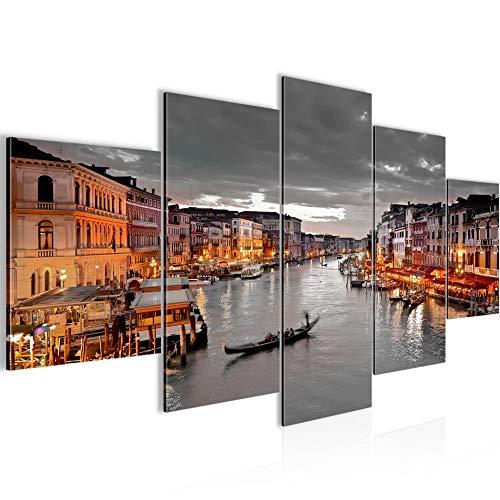Runa Art - Cuadro Venecia Italia 200 x 100 cm 5 Piezas XXL Decoracion de Pared Diseño Gris Marrón 604351b