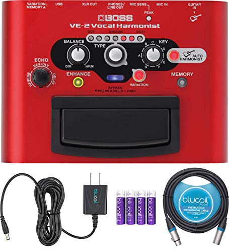 BOSS VE-2 Vocal Harmonist Pedal for Guitars Bundle with Blucoil Slim 9V Power Supply AC Adapter, 10-FT Balanced XLR Cable, and 4 AA Batteries