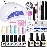 UR SUGAR 7,5ML Esmalte Uñas Semipermanente Kit 48W UV/LED Lámpara Uñas Kit Base+Top Coat Completo Color Caramelo Pastel para Principiantes