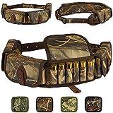 BRONZEDOG Shotgun Shell Holder Nylon Belt Case Hunting Accessories Waterproof Shotshell Bandolier 12 16 Gauge Cartridges (Brown Cane Camo)