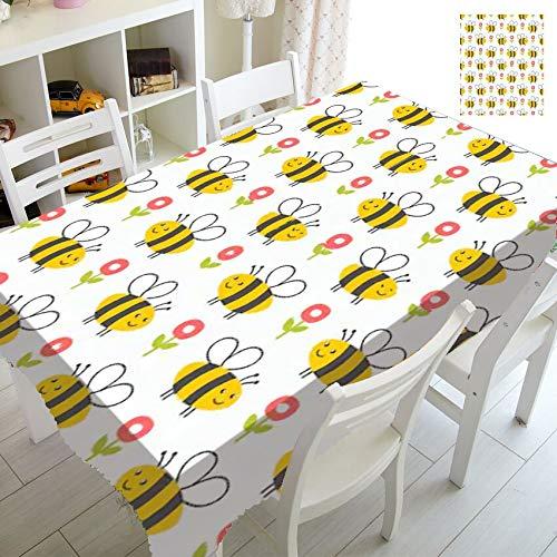 XXDD Cartoon Honigbienen Collage Tischdecken wasserdichte Bienen Tischdecke für Kinder Kinder Geburtstag Dekor Küche Esstisch A1 140x180cm