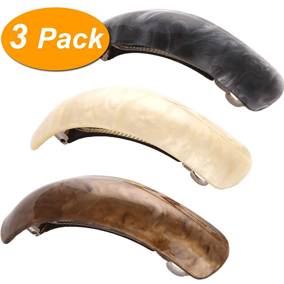 LONEEDY Beautiful Lines Simple Retro Classic Large Barrettes Hair Pins, Exquisite Hair Clips For Women (Dark gray+Beige+Dark brown)