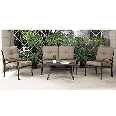 Cloud Mountain 4 PCs Cushioned Outdoor Furniture Garden Patio Conversation Set, Wrought Iron Coffee Table Loveseat Sofa 2 Chairs