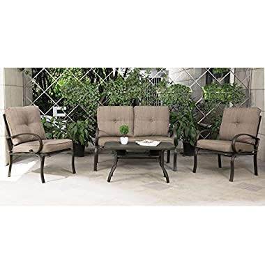 Cloud Mountain 4 Piece Patio Furniture Set Outdoor Conversation Set Cushioned Sofa Set Garden Love Seat Wrought Iron Coffee Table Loveseat Sofa 2 Chairs, Gradient Brown