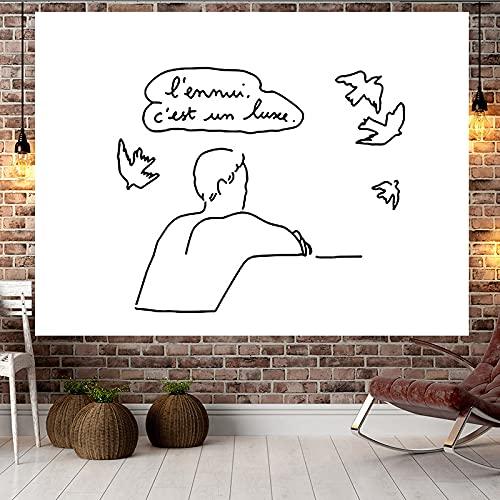 Tapiz de pared decoraciones para dormitorio decoración del hogar línea de pareja abstracto minimalista fondo paño
