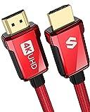 Câble HDMI 4K 2m, Câble HDMI 2.0 Haute Vitesse 18Gbps, 4K HDR, Arc, 3D, 2160P, 1080P, Ethernet, Cordon HDMI Tressé en Alliage de Zinc 30AWG, Compatible avec TV UHD, Blu-Ray, PS4/3, Projecteur