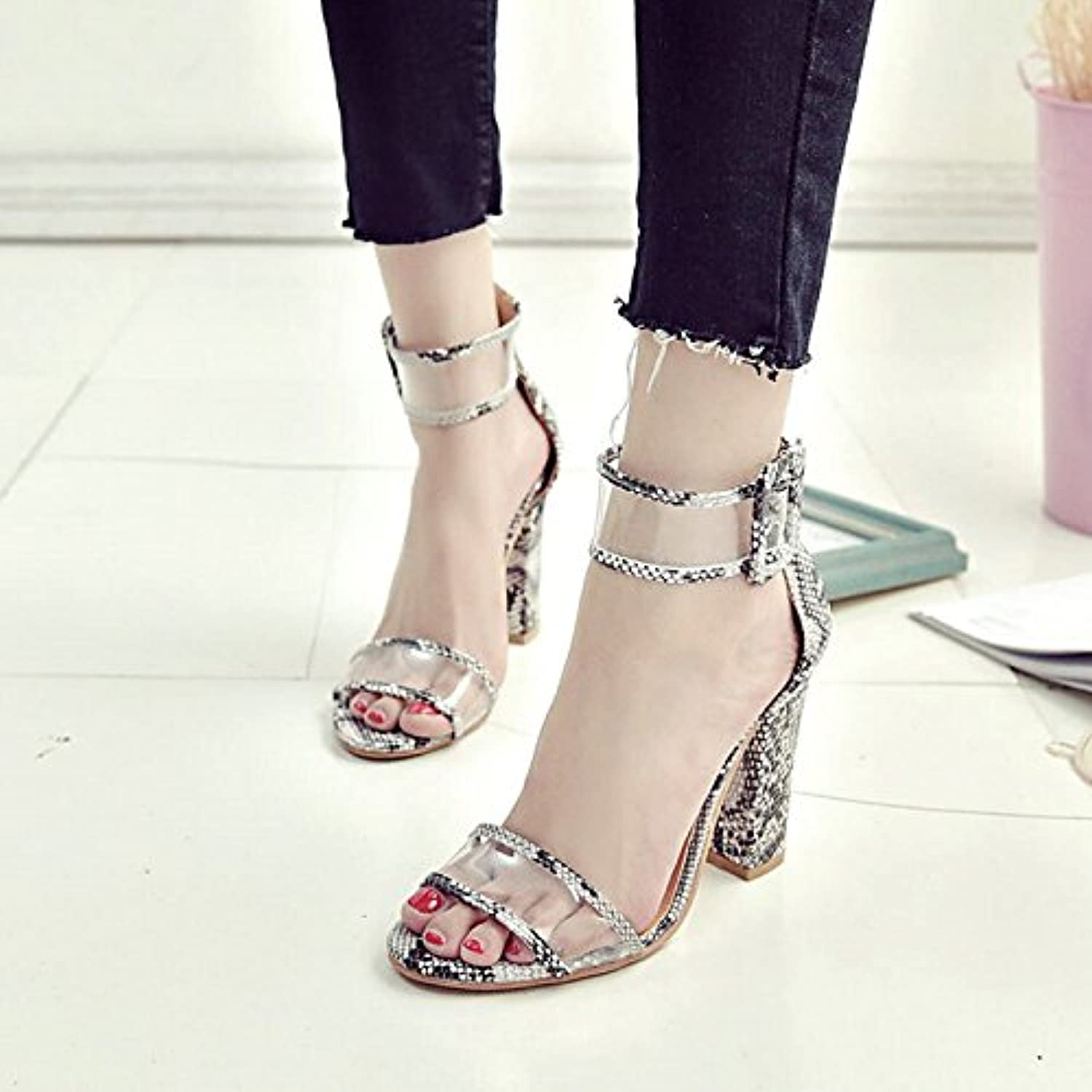 Women's shoes Synthetic Microfiber PU Spring Summer Slingback Basic Pump Ankle Strap Sandals Chunky Heel Open Toe Hollow-Out for Dress