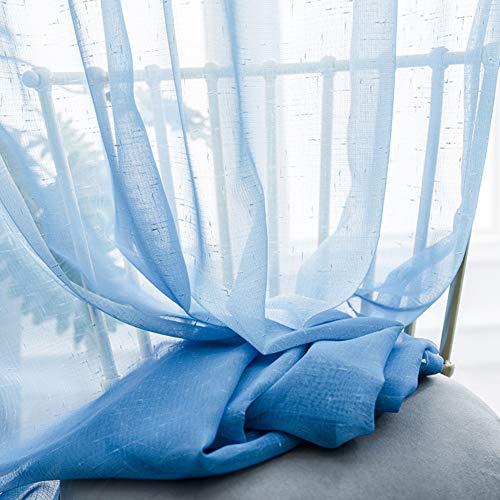 WJXBoos Translúcida Voile Visillos,Degradado Panel Gasa Cortina De Ventana Ojal Arriba Decoración De Ventana Cafetería Dormitorio Comedor Fondo Azul 350 * 270cm(138 * 106inch)