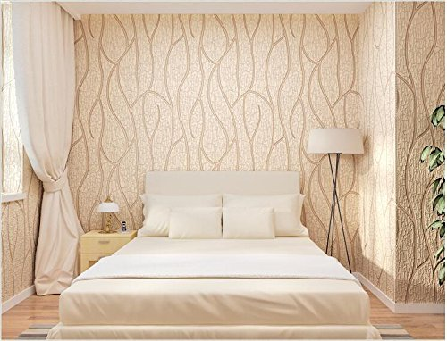 Yosot 3D stereoscopische strepen moderne eenvoudige dennenbast groep ontwerp nonwoven behang woonkamer tv achtergrond behang Champagne Color