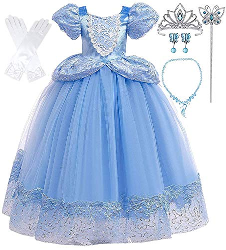 Romy's Collection Princess Blue Cinderella Costume Party Dress-up Set (6-7, Blue 05)