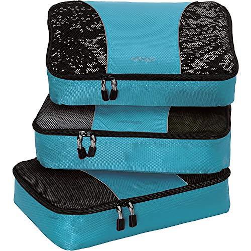eBags Medium Classic Packing Cubes for Travel - 3pc Set - (Aquamarine)