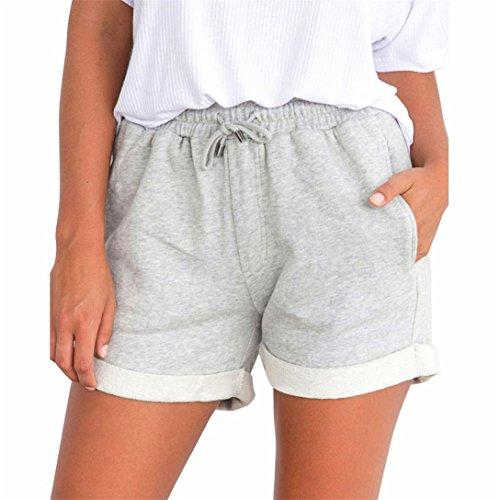 Donna Shorts Hot,Kword Donna Pantaloncini Basic,Shorts Elasticizzati - Donna - Arricciate Pantaloncini Spiaggia Pantaloni Casual Pantaloncini Ragazza Alta Vita Pantaloni Corti (Grigio, S)