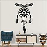 Adesivi murali gufo Dream on Catcher Feathers Home Decor Religioso credenza Wall Art Decalcomanie Camera da letto Protezione Simbolo Decorazione 73x44 cm