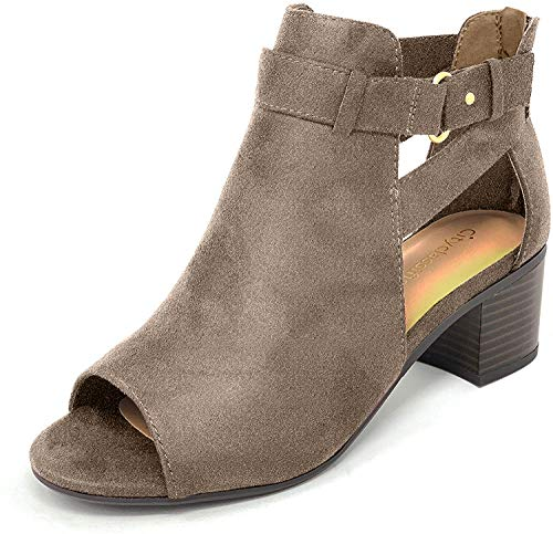 City Classified Invest Women's Fashion Cutout Side Strap Heeled Ankle Sandal Booties,Smoke Taupe,10