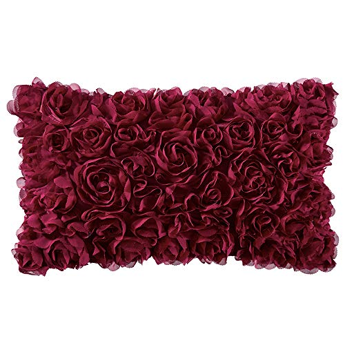 MIULEE 3D Decorative Romantic Stereo Chiffon Rose Flower Throw Pillow Cover Solid Square Pillowcase for Christmas Decoration Sofa Bedroom Car 12x20 Inch 30x50 cm Wine Red