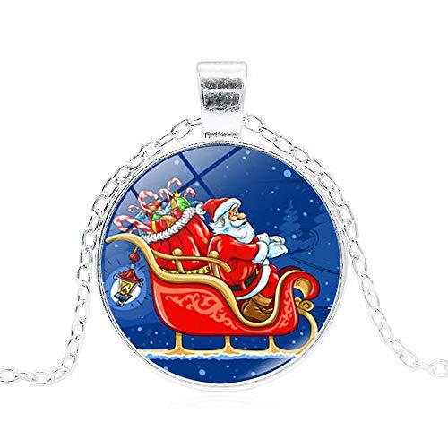 AMTBBK Christmas Time Edelstein Halskette, Cabochon Glas Anhänger, Weihnachtsmann Mit Schlitten-Bild, Hängende Halskette, Mit Schmuckschatulle, Lange Strickjacke-Kette, Einstellbarer,A