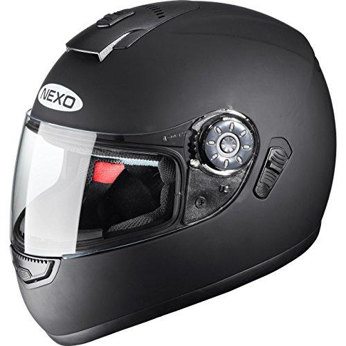 Nexo Motorradhelm, Vollvisierhelm, Integralhelm Travel, integrierte Sonnenblende, mehrfache Be- und Entlüftung, Ratschenverschluss, Wangenpolster komplett herausnehmbar und waschbar, matt schwarz, XS