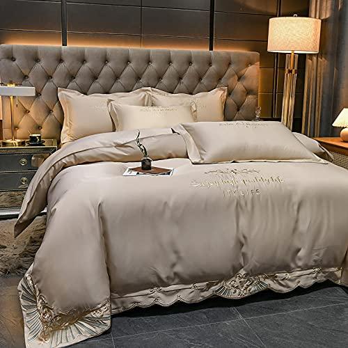 juego de fundas de edredón y de almohada de microfibra,Conjuntos de tapa de seda de seda satinada con funda de almohada 4pcs Conjuntos de hojas de cama blancas para king size 220x240cm-Lucía - Champa
