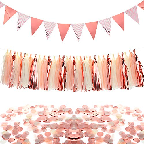 Rose Gold Party Decorations Set, Triangle Flags Bunting Pennant Banner Paper Tassels Garland and Paper Confetti Circles Table Confetti for Weddings Birthday