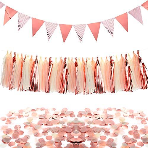Chuangdi Conjunto de Decoraciones de Fiesta Dorados Rosados, Banderines Banderas de...