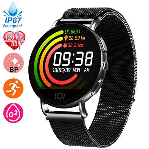 Fitness Tracker for Women Men - Heart Rate Blood Pressure Blood Oxygen Monitor Watch, Sport Business Smart Watch, IP67 Waterproof Activity Tracker, GPS Pedometer Calorie Distance Smart Watch Tracker