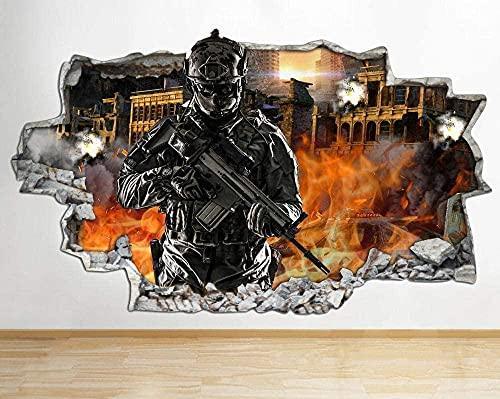 Pegatinas de pared Juego de pistola Cool Boy Airplane Kitchen Funny Smashed Decal Poster Art Vin B058-3D - Poster-50x70cm