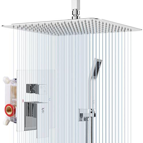 Sistema de ducha montado en el techo de 12 pulgadas, mezclador de lluvia, sistema de alcachofa de ducha de lluvia con sistema de ducha de cromo pulido, cuerpo de la válvula y ajuste incluido