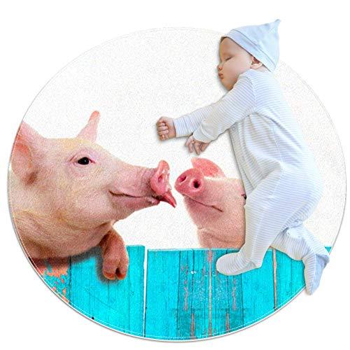 Grappig varken opknoping op een hek Baby Play Mat - Baby Crawling Pad voor jongens en meisjes – Game Deken Vloer Tapijt Kinderkamer Decoratie,27.6x27.6IN
