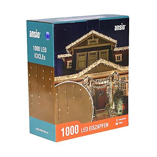 Lichterkette Außen 1000 LED 35m/115ft Eisregen Lichterkette Aussen Weihnachten mit timer Outdoor Eiszapfen Strom Weihnachten Deko/Hochzeiten/Party Warm Weiß - Grünes Kabel