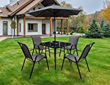 Outdoor Living Lancaster – Black & Grey Metal 4 <span class='highlight'>Seater</span> <span class='highlight'>Garden</span> Dining <span class='highlight'>Set</span> including Parasol