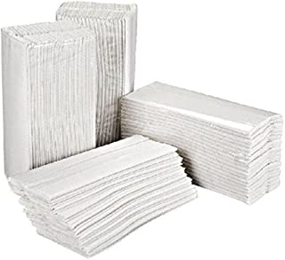 Essentials HT3000 - Pack de 2400 toallas de mano plegadas en C, 2 capas, color blanco