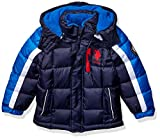 US Polo Association Boys' Toddler Bubble Jacket, Army Stripe Navy, 2T
