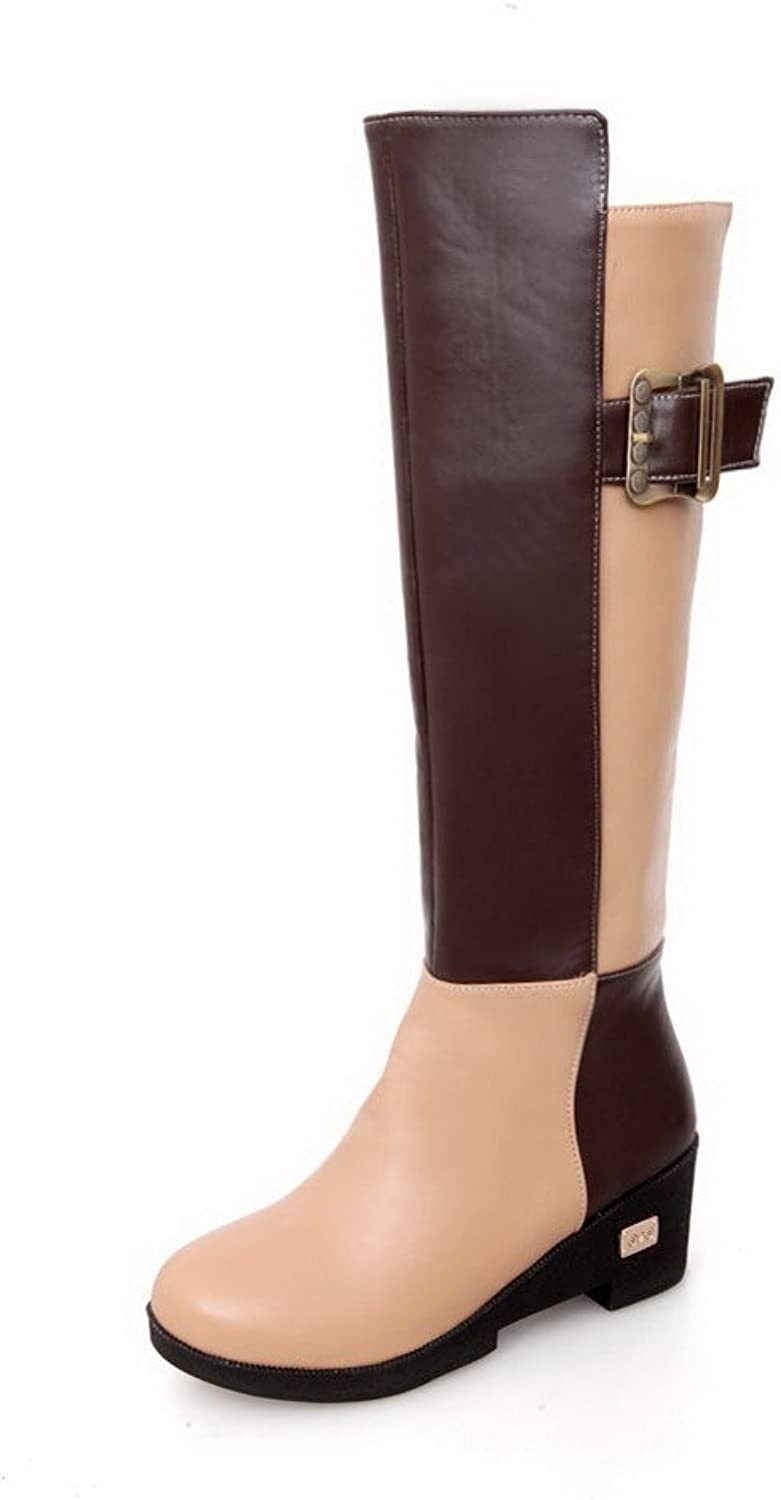 WeenFashion Womens Closed Round Toe Mid Heel Soft Material PU Fabric Boots with Assorted colors, Brown, 8 B(M) US