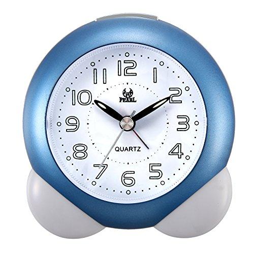 LANCARDO Kinder Jungen Mädchen analog Wecker Laut, Glockenwecker LED Analog-Digital Uhr blau