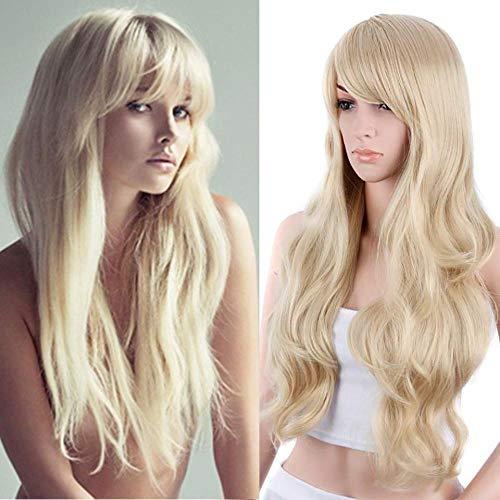 Groot golvend blond lang krullend haar, 75cm, met pony-pruik, zijde van chemische vezels op hoge temperatuur, natuurlijke, levensechte pruik, witte vrouwelijke pruiken voor prom en feest
