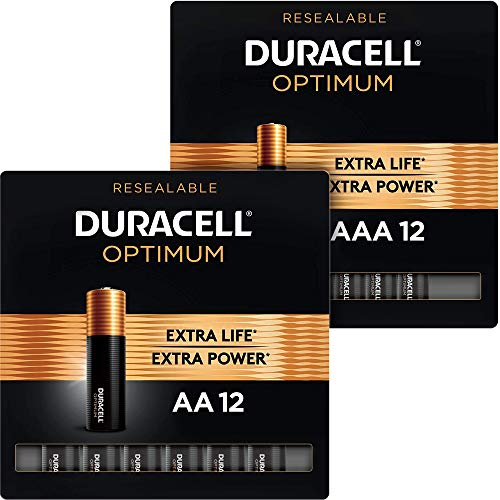 Duracell Optimum AA + AAA Batteries combo pack | 12 Count each | Lasting Double A & Triple A Battery | Alkaline Battery Ideal for Household and Office Devices | 24 Count total