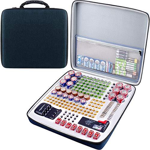 Batterie Aufbewahrungsbox für Batterieorganisator mit Batterietester (BT168), Tasche Halter für 250+ Batterien AA AAA AAAA 9 V 6 V C D Lithium 3 V A23 NI-MH-Ladegerät (ohne Batterien und Ladegerät)