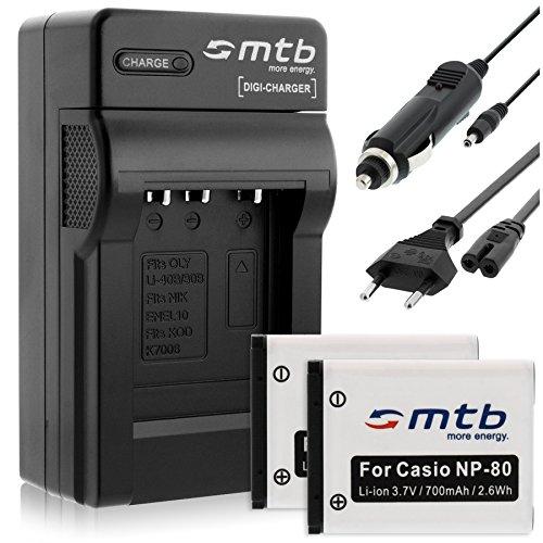 2 Baterías + Cargador para Casio NP-80 NP-82, Exilim S5 S6 S7 S8 Z1 Z2 Z16 Z28 Z32. ZS5 ZS6.