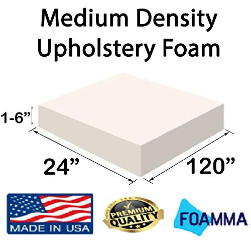 Big Save! FOAMMA  1″ x 24″ x 120″ Upholstery Foam Medium Density Foam (Chair Cushion Square Foam for Dinning Chairs, Wheelchair Seat Cushion Replacement)