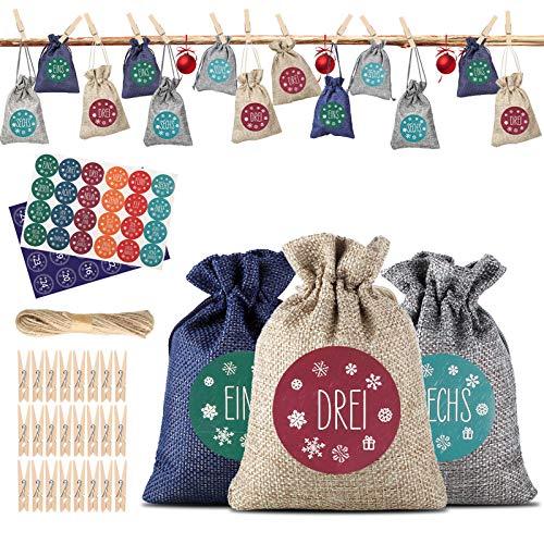 LEWONPO 24 Adventskalender zum Befüllen - Stoffbeutel, Weihnachten Geschenksäckchen mit 1-24 Adventszahlen Aufkleber, Adventskalender 2020, Weihnachtskalender Bastelset für DIY Handwerk Männer Kinder