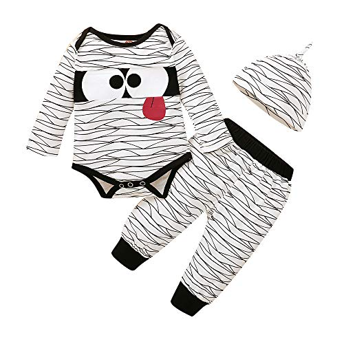 Baby Boy Clothes Newborn Halloween Outfit Long Sleeve Mummy Romper + Grey Pants Hat Infant Clothes for Boy 0-3 Months Winter