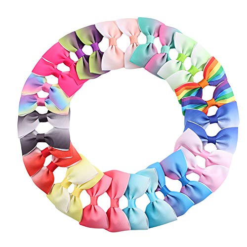 Queta 30Stk. Haarschleifen Haarklammern mit Schleifen Haarspangen Mädchen Schleifen Handgemachte Haarschleifen Haarschmuck für Baby Mädchen Haarklammern Haarclips