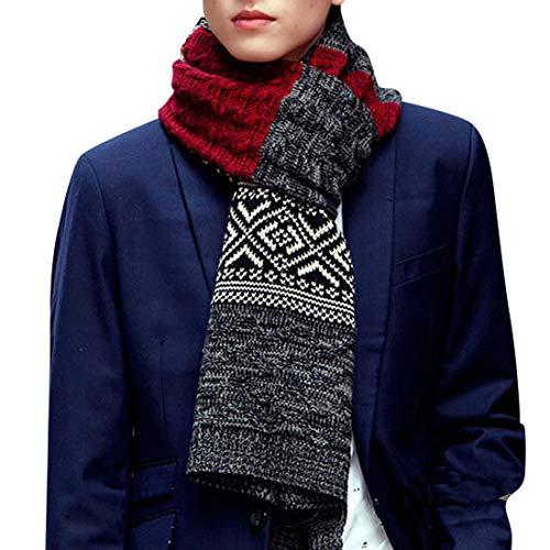 Yuson Girl Bufanda Punto Hombre Mujer la Tela Escocesa Cozy Lana Abrigo Del Mantón Cuello Bufanda Regalos Para Hombre Mujer (Rojo)