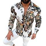 waotier Camisas Casual Camisa Hawaiana Hombre Casual Slim Fit Estampado Floral Camisas de Manga...