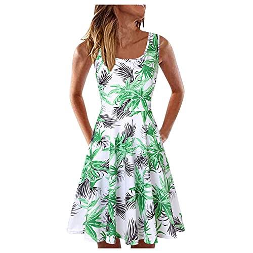Vestido de verano para mujer, cuello redondo, vestido de playa, sexy, sin mangas, para el tiempo libre, elegante, minivestido, largo hasta la rodilla, estilo boho, línea A., #1_verde, S