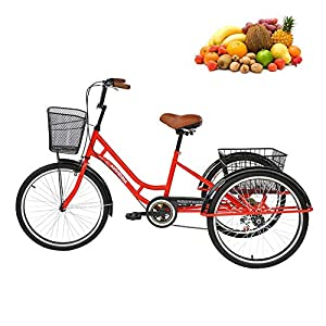 Comfort Bikes WYFCAugust Adult Tricycle Single Speed 7 Speed Wheel Size Cruise Bike 24 inch Adjustable Trike with Bell Cruiser…