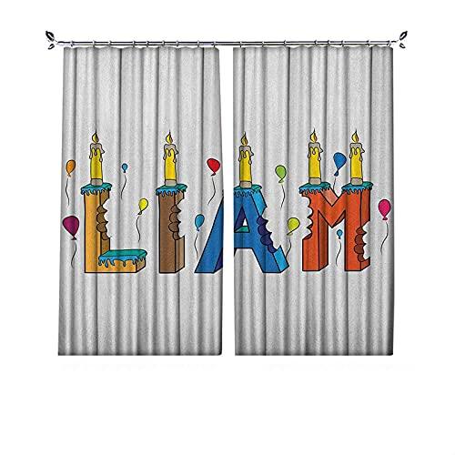 Cortinas plisadas Liam con aislamiento térmico plisado, primer nombre en inglés en un colorido diseño de pastel con marcas de mordida y velas, para travesaños y rieles, 84 x 72 pulgadas, multicolor