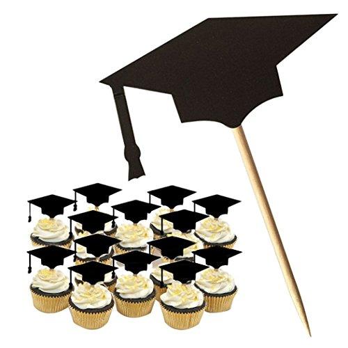 BIEE Abschlussfeier Kuchen Dekorationen Abschlussfeier Kappe Kuchen Topper, 2018 Graduation Decor 20pcs (mit Zahnstocher, schwarz)